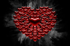 Heart of hearts. Digital illustration with hearts and white dust behind it Royalty Free Stock Photography