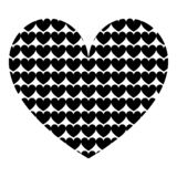 Heart with hearts inside Heart pattern in heart icon black color vector illustration flat style image. Heart with hearts inside Heart pattern in heart icon black vector illustration