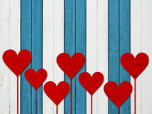 Heart hearts love valentines day wood board Royalty Free Stock Photo