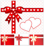 Heart of Hearts Presents. Mix and match gifts: 4 ribbon styles, 2 backgrounds, 2 BIG hearts with copy space. For Valentine's Day, anniversaries, birthdays Stock Photos