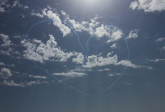 Heart in Heaven. Amazing heart in the sky made of jet planes trails Royalty Free Stock Photos