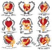Heart heraldic ribbons Stock Photography