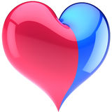 Heart of heterosexual couple. Heart from two parts colored pink and blue. Heterosexual Love concept. Glossy romantic Valentines day decoration. This is a Stock Photography