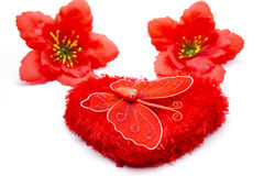 Heart with hibiscus blossom and butterfly. On white background Stock Photo