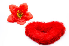 Heart with hibiscus blossom. On white background Stock Photo