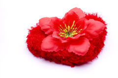 Heart with hibiscus blossom. On white background Royalty Free Stock Photo