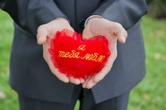Heart in his hands royalty free stock photo