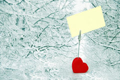 Heart Holder Over Winter Background Royalty Free Stock Photo