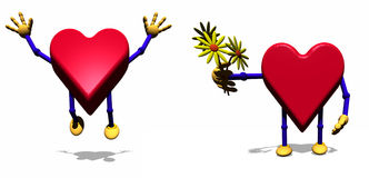 Heart Holding flowers. Heart cartoon figure holding bunch of flowers Stock Images
