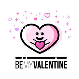 Heart holding gift. Saint Valentine Day greeting card. Flat line style icon. Stock Photos
