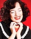 heart holding red woman Royaltyfria Bilder