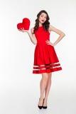 heart holding red woman Royaltyfri Bild