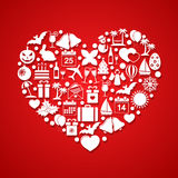 Heart with Holiday icons Royalty Free Stock Images