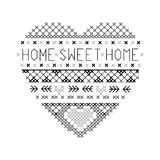 Heart home sweet home fair isle pattern vector. Grey and black vector illustration