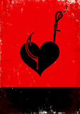 Heart on a hook. Red and black poster with Heart on a hook Stock Photography