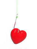 Heart on the hook. 3D render, on the white background Royalty Free Stock Image