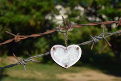 Heart on a Hook. Heart Pendant Key Chain on a rusty barbwire fence with rusted screws and green trees in the background Royalty Free Stock Images