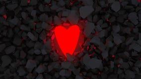 Heart hope. 3d render concept heart against stones Stock Images