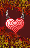 Heart with horns Stock Images