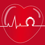 Heart with horse shoe on red background. Vector illustration Royalty Free Stock Photography