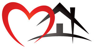 Heart House Logo. A heart and house site side by sidein this real estate love home logo icon