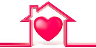 Heart in house made of red line 3D. Render illustration isolated on white background vector illustration