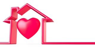 Heart in house made of red line 3D. Render illustration isolated on white background stock illustration
