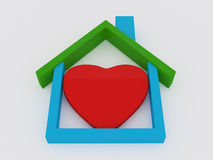 Heart house on white Royalty Free Stock Images