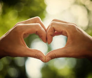 Heart of human hands as symbol of love Royalty Free Stock Photo