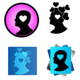 Heart of the human mind. Vector illustration. Head icon Royalty Free Stock Images