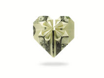 Heart of hundred dollar banknote Stock Image