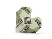 Heart of hundred dollar banknotes. Origami heart of hundred dollar banknotes Stock Photo
