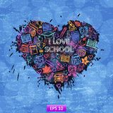 Heart I love school. Background with colorful blots,inks,with hat graduate, scroll,apple,books, flasks,basketball,alarm clock,backpack,school bus,globe, ruler Royalty Free Stock Image