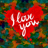 Heart, i love you, colorful paint splash illustration vector background Royalty Free Stock Images