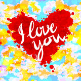 Heart, i love you, colorful paint splash illustration vector background Royalty Free Stock Photo