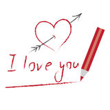 Heart and I love you drawn by red pencil Stock Image