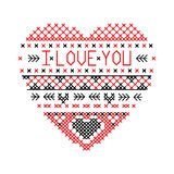 Heart i love you fair isle pattern vector Royalty Free Stock Images