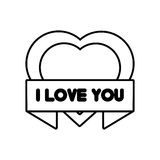 Heart i love you ribbon outline Stock Photos