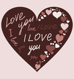 Heart-i-love-you. I love you. The text on the heart. Background chocolate. Vector Stock Photography