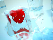 Heart in ice. 3d. The heart frozen in a cube of an ice. But hot heart will soon melt ice:) Render 3D images royalty free illustration