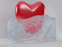 The heart in the ice cube. The heart is melting in the ice cube Stock Images
