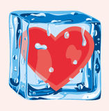 Heart in an ice cube. In this surreal illustration the solitude is represented as a heart immersed in an ice cube Stock Photos