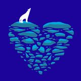 Polar bear on an ice floe. Heart of ice illustration on the theme of love, loneliness or the environment and global Stock Image