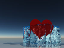 Heart in ice melting Royalty Free Stock Image
