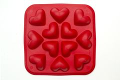 Heart ice moulds Royalty Free Stock Images