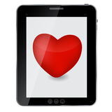 Heart icon on abstract design tablet pc. Stock Photos