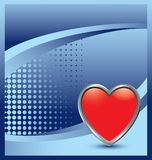 Heart icon on blue halftone banner Stock Photo