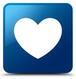 Heart icon blue square button Stock Image