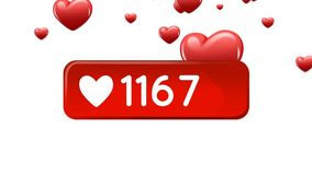 Heart icon button. Digitally generated animation of a heart icon button with increasing numbers while background shows red hearts floating in the screen vector illustration