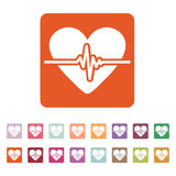 The heart icon. Cardiology and cardiogram, ecg, cardio symbol. Flat Stock Photography